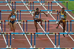 Joanna Hayes USA, Melissa Morrison USA, Lacena Golding-Clarke JAM in action during Olympics Games Athletics day 12 on August 24, 2004 in Olympic Stadion Spyridon Louis, Athens.