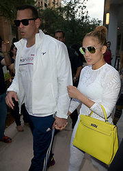 AU_1243732 - Miami, FL  -  Jennifer Lopez and Alex Rodriguez leave Trufusion gym<br />