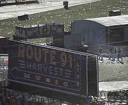 Oct 3,2017. Las Vegas Nevada, U.S, - FBI  start their second day investigation at the concert scene after Sundays mass shooting Tuesday morning.  The latest on victims as of Tuesday is still 59 dead, 527 injured last reported Monday night.  The shooting happen during day 3 of the Route 91 Harvest Festival. (Credit Image: © Gene Blevins via ZUMA Wire)
