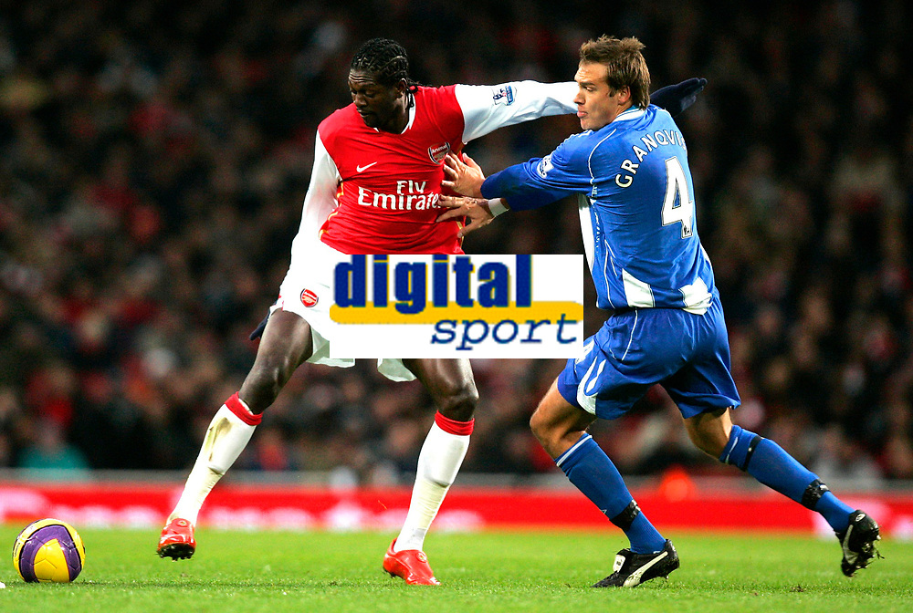 Photo: Tom Dulat/Sportsbeat Images.<br /> <br /> Arsenal v Wigan Athletic. The FA Barclays Premiership. 24/11/2007.<br /> <br /> Andreas Granqvist of Wigan Athletic and Emmanuel Adebayor of Arsenal with the ball.