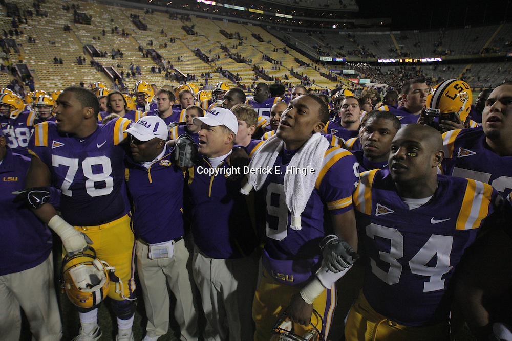 15 November 2008: LSU coaches and players sing together following the LSU Tigers 40-31 come from behind victory over the Troy Trojans at Tiger Stadium in Baton Rouge, LA.
