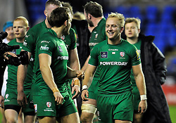 Shane Geraghty of London Irish is all smiles after the match - Photo mandatory by-line: Patrick Khachfe/JMP - Mobile: 07966 386802 11/01/2015 - SPORT - RUGBY UNION - Reading - Madejski Stadium - London Irish v Exeter Chiefs - Aviva Premiership