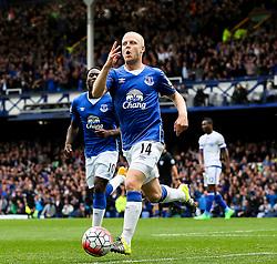 Everton's Steven Naismith celebrates after scoring the opening goal  - Mandatory byline: Matt McNulty/JMP - 07966386802 - 12/09/2015 - FOOTBALL - Goodison Park -Everton,England - Everton v Chelsea - Barclays Premier League