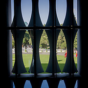 Concave window column silhouettes with reflection (Saigon (Ho Chi Minh City), Vietnam - Nov. 2008) (Image ID: 081104-1555191a)