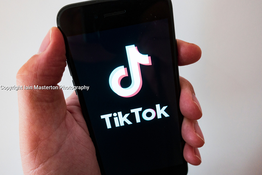 Detail of TikTok social media video sharing app on a<br />  smart phone screen