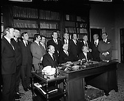 Outgoing Cabinet at Áras an Uachtaráin..1973..14.03.1973..03.14.1973..14th March 1973..Picture today of  President DeValera with the outgoing cabinet of the 19th Dail as they surrender their seals of office.  Mr Jack Lynch TD ,leader of Fianna Fail and Mr Erskine Childers TD flank the president. The Fianna Fail government was beaten in the general election after holding power for sixteen consecutive years