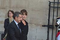 Nicolas Sarkozy_Carla Bruni Obsèques de Jacques Chirac Lundi 30 Septembre 2019 église Saint Sulpice Paris