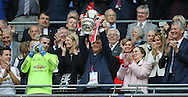 Manchester United Manager Louis van Gaal lifts the FA cup during the The FA Cup Final between Crystal Palace and Manchester United at Wembley Stadium, London, England on 21 May 2016. Photo by Phil Duncan.