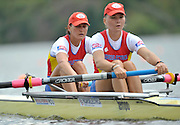 Hamilton, NEW ZEALAND.  ROM W2- Bow, Camelia LUPASCU and Nicoleta ALBU, competing in the women's pairs repechage. 2010 World Rowing Championships, Lake Karapiro. Wednesday - 03.11.2010, [Mandatory Credit Peter Spurrier:Intersport Images].