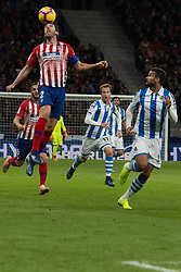October 27, 2018 - Madrid, Madrid, Spain - Godin (L) head the ball..during the match between Atletico de Madrid vs Real Sociedad. Atletico de Madrid won by 2 to 0 over Real Sociedad whit goals of Godin and Filipe Luis. (Credit Image: © Jorge Gonzalez/Pacific Press via ZUMA Wire)