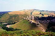 Corfe castle and the 'gap town' settlement of Corfe village, Dorset England