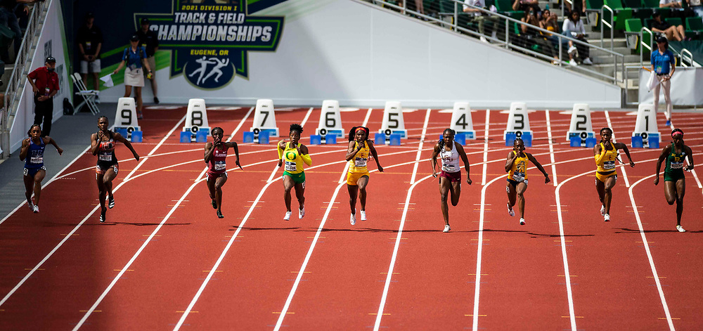June 12, 2021 Eugene, OR  U.S.A. Runners compete in the 100m during the NCAA division 1 mens and womens track and field outdoor championship at Hayward Field Eugene, OR. Thurman James / CSM