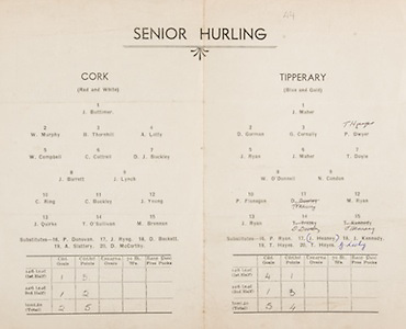 Munster Senior and Minor Hurling Championship Final, .26101941MMHCF..26.10.1941, 10.26.1941, 26th October 1941, ..Senior Cork v Tipperary,.Cork,.J Buttimer, W Murphy, B Thornhill, A Lotty, W Campbell, C Cottrell, D J Buckley, J Barrett, J Lynch, C Ring, C Buckley, J Young, J Quirke, T O'Sullivan, M Brennan, .Subs, P Donavan, J RIng, D Beckett, A Slattery, D McCarthy, ..Tipperary, .J Maher, D Gorman, G Cornally, P Dwyer, J Ryan, J Maher, T Doyle, W O'Donnell, N Condon, P Flanagan, T Treacy, M Ryan, J Ryan, D Doorley, J Hearney, .Subs, P Ryan, J Heaney, J Kennedy, T Hayes, T hayes, G Looky
