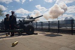 © Licensed to London News Pictures. 03/06/2013. London, UK. Members of the Honourable Artillery Company (HAC) fire a 62 gun salute at the Tower of London on 3 June 2013 to mark the 60th anniversary of Her Majesty the Queen's coronation in 1953. Gun Salutes at the Tower of London have marked important State and Royal <br /> events since Tudor times. Photo credit : Vickie Flores/LNP