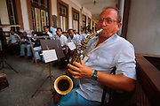 CUBA, HAVANA (HABANA VIEJA) band concert performance at the Hotel  Inglaterra next to the Gran Teatro