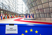 Brussels Belgium 25 May 2017 President of the USA Donald Trump visits the European Commission. a sign with host photographer marks the spot for the EC photographer, where the president will walk by for a photo opportunity