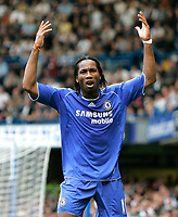 Chelsea v Fulham. Barclays Premier League. 29/09/2007. Didier Drogba of Chelsea asks fans for more support.