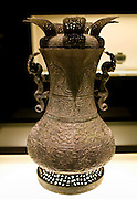 Hu wine vessel on display in the Shanghai Museum, China