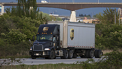 May 3, 2019 - Richmond, British Columbia, Canada - A United Parcel Service (UPS) semi-trailer transport truck travels along a roadway, Richmond, British Columbia, Canada. (Credit Image: © Bayne Stanley/ZUMA Wire)