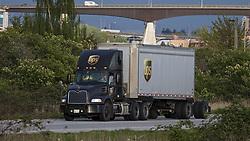May 3, 2019 - Richmond, British Columbia, Canada - A United Parcel Service (UPS) semi-trailer transport truck travels along a roadway, Richmond, British Columbia, Canada. (Credit Image: © Bayne Stanley/ZUMA Wire)