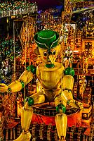 Floats in the Carnaval parade of GRES Sao Clemente samba school in the Sambadrome, Rio de Janeiro, Brazil.