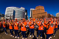 Broncos Brass (the brass section part of the Broncos Stampede, which allows includes a drum line), Denver Broncos Super Bowl 50 Victory Parade, Downtown Denver, Colorado USA.