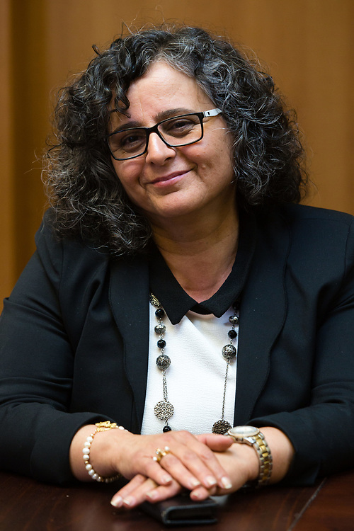 Arab-Israeli lawmaker, Member of the Knesset Aida Touma-Suleiman at the Knesset, Israel's parliament in Jerusalem, on March 31, 2015.