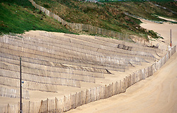 Erosion control on sand dunes; Whitley Bay; Tyneside; north east England; UK