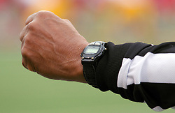 04 October 2014: an officials arm sports a stop watch during an NCAA FCS Missouri Valley Football Conference game between the South Dakota State Jackrabbits and the Illinois State University Redbirds at Hancock Stadium in Normal Illinois
