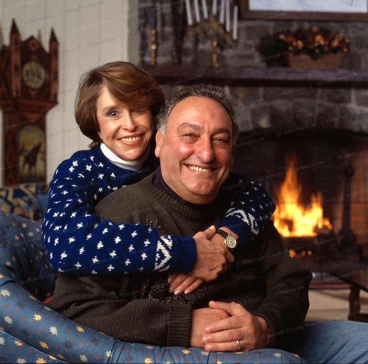 Sandy Weill, chairman of Citicorp Group, at his retreat in Saranac Lake, New York with his wife Joan.