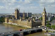 Aerial view Big Ben, the Houses of Parliament, River Thames famous tourist landmark, Westminster Bridge, London bus, England, United Kingdom