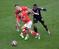 Bristol City's Marlon Pack wins the ball from West Ham's Diafra Sakho - Photo mandatory by-line: Alex James/JMP - Mobile: 07966 386802 - 25/01/2015 - SPORT - Football - Bristol - Ashton Gate - Bristol City v West Ham United - FA Cup Fourth Round