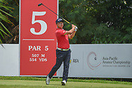 Dongmin KIM (KOR) watches his tee shot on 5 during Rd 2 of the Asia-Pacific Amateur Championship, Sentosa Golf Club, Singapore. 10/5/2018.<br /> Picture: Golffile | Ken Murray<br /> <br /> <br /> All photo usage must carry mandatory copyright credit (© Golffile | Ken Murray)
