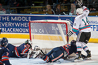 KELOWNA, CANADA - MARCH 26: Rourke Chartier #14 of Kelowna Rockets scores a goal on Connor Ingram #39 of Kamloops Blazers on March 26, 2016 at Prospera Place in Kelowna, British Columbia, Canada.  (Photo by Marissa Baecker/Shoot the Breeze)  *** Local Caption *** Rourke Chartier; Connor Ingram;