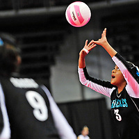 111612  Adron Gardner<br /> <br /> Navajo Prep Eagle Jasmine Coleman (3) time a set while playing against the Santa Rosa Lions in the state volleyball quarterfinals at the Santa Ana Star Center in Rio Rancho Friday.