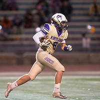 Kirtland Central Broncos running back Brock Dowdy carries the ball during a kickoff return against the  Gallup Bengals at Angelo DiPaolo Stadium in Gallup, Friday Nov 2.