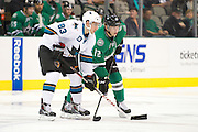 DALLAS, TX - OCTOBER 17:  Matt Nieto #83 of the San Jose Sharks and Alex Chiasson #12 of the Dallas Stars stand before a face-off on October 17, 2013 at the American Airlines Center in Dallas, Texas.  (Photo by Cooper Neill/Getty Images) *** Local Caption *** Matt Nieto; Alex Chiasson