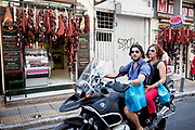 Delicatessen selling cured meats and salami in Psiri. Athens is the capital and largest city of Greece. It dominates the Attica periphery and is one of the world's oldest cities, as its recorded history spans around 3,400 years. Classical Athens was a powerful city-state. A centre for the arts, learning and philosophy.
