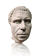 Roman portrait bust from circa 30 BC excavated from the Valle Giardino, Nemi, Rome. The appearance of an adult man with an energetic, dominating expression, is artistically and crisply represented in this portrait. The treatment of the eyebrows and hair suggest that this statue is the copy of a braze original. The head is a fusion of the realistic style from the period of Caesar and the classic works of the Augustan age . Inv 66177, The National Roman Museum, Rome, Italy