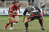 Ben Toolis of Edinburgh charges at Sam Hobbs of the Newport Gwent Dragons. Guinness Pro12 rugby match, Newport Gwent Dragons  v Edinburgh rugby at Rodney Parade in Newport, South Wales on Sunday 27th November 2016.<br /> pic by Simon Latham, Andrew Orchard sports photography.
