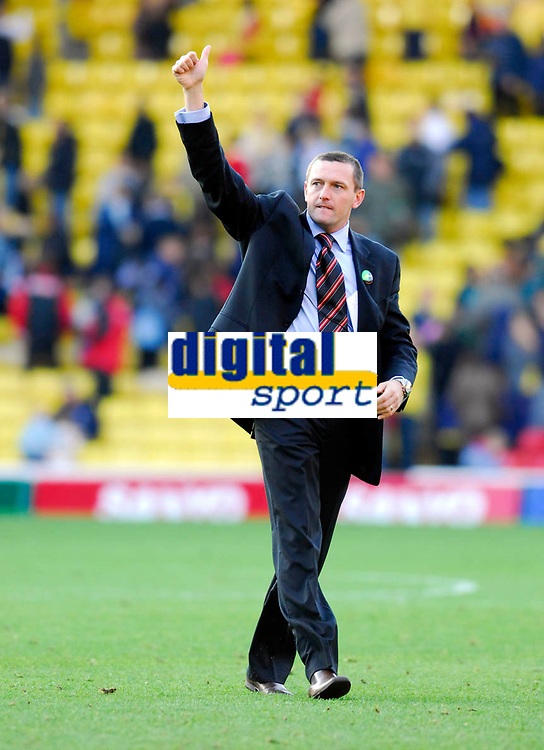 Photo: Leigh Quinnell.<br /> Watford v Hull City. Coca Cola Championship. 20/10/2007. Watford boss Adrian Boothroyd celebrates another win for his team.