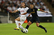 Toby Alderweireld of Tottenham Hotspur and Radamel Falcao Garcia of AS Monaco compete for the ball. UEFA Champions league match, group E, Tottenham Hotspur v AS Monaco at Wembley Stadium in London on Wednesday 14th September 2016.<br /> pic by John Patrick Fletcher, Andrew Orchard sports photography.
