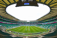 a General view inside Twickenham Stadium as preparations are underway before k/o of the first quarter-final. Rugby World Cup 2015 quarter final match, South Africa v Wales at Twickenham Stadium in London, England  on Saturday 17th October 2015.<br /> pic by  John Patrick Fletcher, Andrew Orchard sports photography.