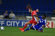 Danny Graham of Blackburn Rovers scores his teams 1st goal.EFL Skybet championship match, Cardiff city v Blackburn Rovers at the Cardiff city stadium in Cardiff, South Wales on Wednesday 17th August 2016.<br /> pic by Andrew Orchard, Andrew Orchard sports photography.