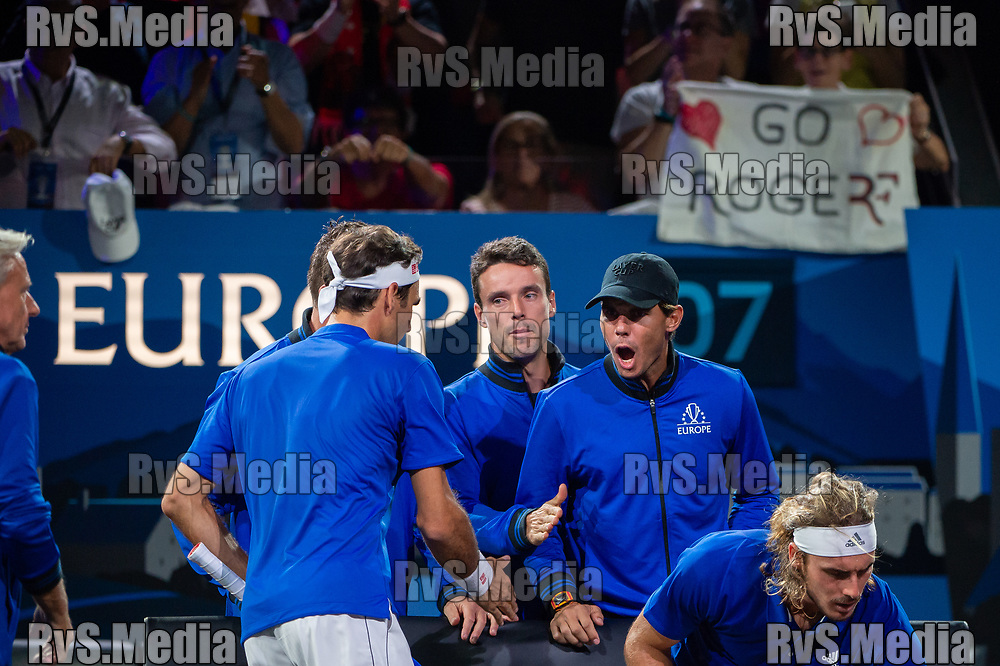 GENEVA, SWITZERLAND - SEPTEMBER 22: Rafael Nadal of Team Europe celebrates with Roger Federer during Day 3 of the Laver Cup 2019 at Palexpo on September 20, 2019 in Geneva, Switzerland. The Laver Cup will see six players from the rest of the World competing against their counterparts from Europe. Team World is captained by John McEnroe and Team Europe is captained by Bjorn Borg. The tournament runs from September 20-22. (Photo by Robert Hradil/RvS.Media)