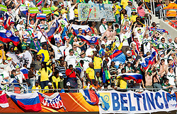 Fans of Slovenia celebrate after goal at the Group C first round 2010 FIFA World Cup South Africa match between Algeria and Slovenia at Peter Mokaba Stadium on June 13, 2010 in Polokwane, South Africa.  Slovenia defeated Aleria 1-0. (Photo by Vid Ponikvar / Sportida)