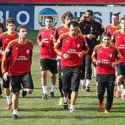 Galatasaray's players (Left to Right) goalkeeper Ufuk CEYLAN, Lorik CANA, Servet CETIN, Sabri SARIOGLU, Mustafa SARP during their training session at the Jupp Derwall training center, Thursday, January 20, 2011. Photo by TURKPIX