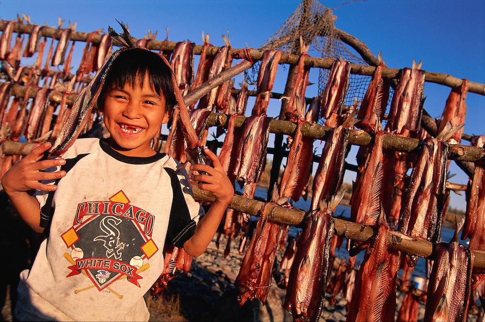 Inupiat eskimo boy Dennis Cleveland, Ambler, Alaska, USA