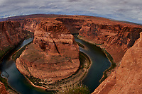 Horseshoe Bend, Arizona. Image taken with a Nikon D4 and 16 mm f/2.8 fisheye lens (ISO 100, 16 mm, f/11, 1/320 sec). Camera mounted on a monopod held out over the cliff.