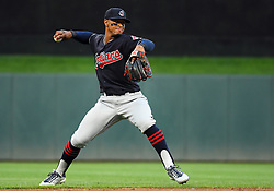 May 31, 2018 - Minneapolis, MN, U.S. - MINNEAPOLIS, MN - MAY 31: Cleveland Indians Shortstop Francisco Lindor (12) throws to 1st during a MLB game between the Minnesota Twins and Cleveland Indians on May 31, 2018 at Target Field in Minneapolis, MN. The Indians defeated the Twins 9-8.(Photo by Nick Wosika/Icon Sportswire) (Credit Image: © Nick Wosika/Icon SMI via ZUMA Press)